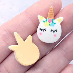 Unicorn Head Sugar Cookie Cabochons | Dollhouse Sweets | Miniature Food Craft | Kawaii Jewellery Supplies (3 pcs / 16mm x 23mm)