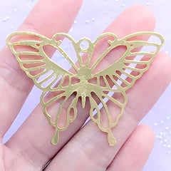 Large Butterfly Open Bezel Charm | Big Insect Deco Frame for UV Resin Filling | Resin Jewelry DIY (1 piece / Gold / 55mm x 40mm)