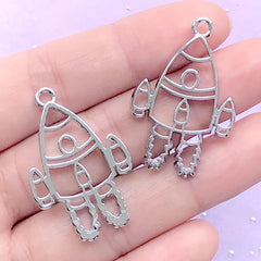 Spaceship Open Bezel for UV Resin Filling | Kawaii Rocket Ship Pendant | Spacecraft Deco Frame (2 pcs / Silver / 23mm x 34mm)