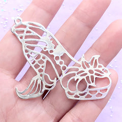 Mermaid Tail High Heel Open Bezel Charm | Fairy Tale Deco Frame for UV Resin Filling | Kawaii Craft Supplies (1 piece / Silver / 54mm x 46mm)