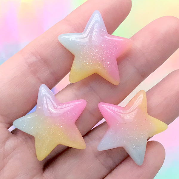 Rainbow Gradient Star Cabochon | Kawaii Resin Cabochons | Decoden Craft Supplies (3 pcs / 26mm x 25mm)