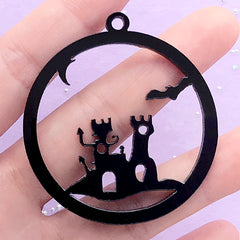 Halloween Acrylic Open Bezel Charm | Ghost House Deco Frame for UV Resin Filling (1 piece / Black / 48mm x 52mm / 2 Sided)