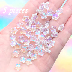 Iridescent Puffy Star Beads | Mini Glass Bead in Rainbow Colour | Kawaii Jewellery Supplies (AB Clear / 5 pcs / 8mm)
