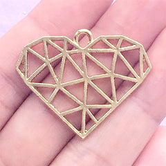 Geometric Heart Open Bezel Charm | Kawaii Deco Frame for UV Resin Filling | Resin Jewelry Supplies (1 piece / Gold / 34mm x 28mm)