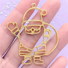 Santa Claus Open Bezel Charm | Christmas Deco Frame for UV Resin Filling | Kawaii Resin Jewelry DIY (1 piece / Gold / 44mm x 53mm)