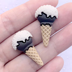 Chocolate Ice Cream Resin Cabochons | Fake Sweets Deco | Kawaii Decoden | Dessert Embellishments (2 pcs / Brown / 16mm x 29mm)