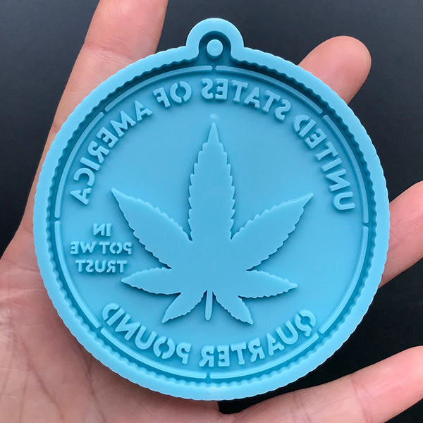 Cannabis Weed Coin Silicone Mold | In Pot We Trust Coin Mould | Marijuana Leaf Quarter Pound Mold | Resin Craft Supplies (69mm x 75mm)