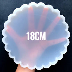 Big Round Scalloped Coaster Silicone Mold | Resin Board Making | Epoxy Resin Craft Supplies | UV Resin Art (180mm)