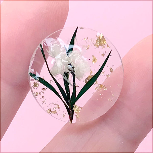 Dried Flower Resin Cabochon with Gold Foil | Round Floral Embellishment | Hair Bow Centre | Resin Jewelry Supplies (1 Piece / 20mm)