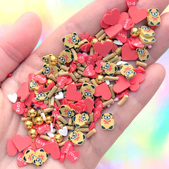 Valentine's Day Confetti Sprinkles | Bear and Heart Polymer Clay Slices and Fake Sugar Strands and Dragee | Faux Food Craft Supplies (10 grams)