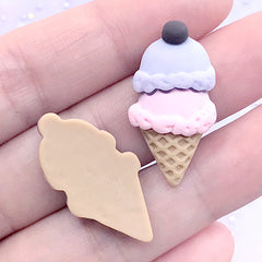 Pastel Ice Cream Cabochon | Kawaii Sweets Deco | Fake Food Jewelry DIY | Decoden Supplies (2 pcs / Purple Pink / 15mm x 29mm)