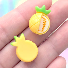 Small Pineapple Cabochons | Stud Earrings Making | Kawaii Decoden Supplies | Resin Fruit Flatbacks (3 pcs / 14mm x 20mm)