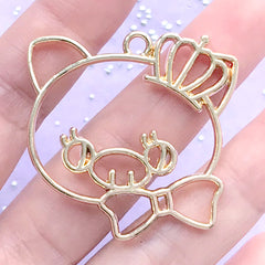 Kawaii Pig with Crown Open Bezel | Resin Jewellery DIY | Animal Open Frame for UV Resin Filling (1 piece / Gold / 39mm x 38mm)