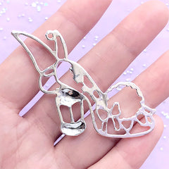Kawaii Fairy High Heel Open Back Bezel Charm for UV Resin Filling | Fairytale Deco Frame | Resin Craft Supplies (1 piece / Silver / 56mm x 43mm)