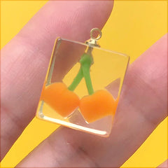 Kawaii Fruit in Ice Cube Charm | Cherry Cube Pendant | Faux Food Jewelry Supplies (1 Piece / Orange / 16mm x 22mm)