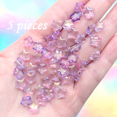 Purple Gradient Star Beads | Kawaii Glass Bead | Cute Bracelet DIY (Purple Pink Gold / 5 pcs / 8mm)