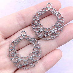 Floral Wreath Open Back Bezel Pendant | Flower Circle Deco Frame for UV Resin Filling (2 pcs / Silver / 30mm x 34mm)