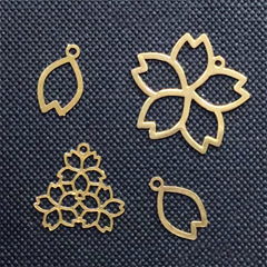 Small Sakura Metal Bookmark Charm Assortment | Cherry Blossom Deco Frame for UV Resin Filling | Resin Jewelry Making (4 pcs)