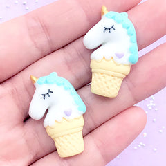 Unicorn Ice Cream Sugar Cookie Cabochon | Sweets Deco | Kawaii Decoden | Fake Food Embellishment (2 pcs / Light Blue / 20mm x 31mm)