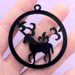 Unicorn Forest Open Bezel | Black Acrylic Charm | Round Deco Frame for UV Resin Craft (1 piece / Black / 48mm x 52mm / 2 Sided)
