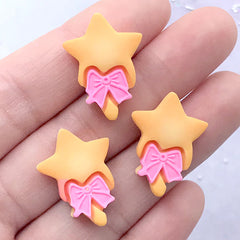 Star Wand Biscuit Cabochons | Miniature Cookie | Kawaii Decoden Pieces | Dollhouse Food Jewelry Making (3 pcs / 17mm x 23mm)