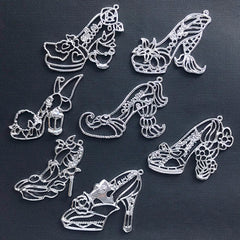 Fairytale High Heel Open Bezel Charm | Mermaid Alice in Wonderland Princess Shoe Deco Frame for UV Resin Crafts (7 pcs / Silver)