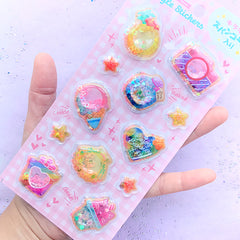 Kawaii Sequin Shaker Stickers | Cute Spangle Stickers | Pineapple Camera Ice Cream Bottle Jar Heart Seashell Star Sticker