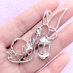 CLEARANCE Kawaii Fairy High Heel Open Back Bezel Charm for UV Resin Filling | Fairytale Deco Frame | Resin Craft Supplies (1 piece / Silver / 56mm x 43mm)