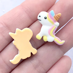 Unicorn Sugar Cookie Cabochons | Dollhouse Food Supplies | Kawaii Miniature Craft | Sweet Deco (3 pcs / 22mm x 20mm)