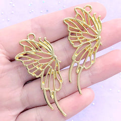 Half Butterfly Open Bezel Pendant for UV Resin Filling | Insect Charm | Kawaii Resin Jewelry Making (2 pcs / Gold / 24mm x 52mm)