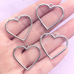 Heart Outline Charm | Open Bezel Pendant for UV Resin Filling | Cute Deco Frame | Kawaii Resin Jewelry DIY (4 pcs / Silver / 27mm x 25mm)