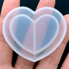 Kawaii Resin Shaker Charm DIY | Heart Silicone Mold | Decoden Cabochon Mold | Clear Soft Mold for UV Resin (49mm x 42mm)