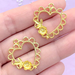 Lace Heart with Flower Open Bezel for UV Resin Filling | Filigree Heart Deco Frame | Kawaii Lolita Resin Jewelry DIY (2 pcs / Gold / 22mm x 25mm)