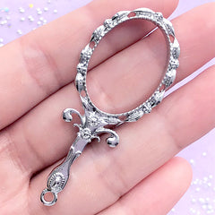 Victorian Mirror Open Bezel Charm | Kawaii Deco Frame for UV Resin Filling | Lolita Jewelry DIY (1 piece / Silver / 24mm x 57mm)