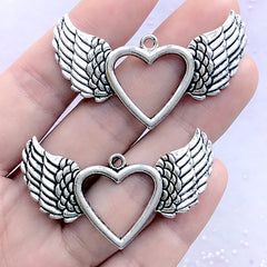 Silver Winged Heart Pendant | Heart Deco Frame for UV Resin Filling | Magical Girl Jewelry DIY (2 pcs / Tibetan Silver / 47mm x 28mm)