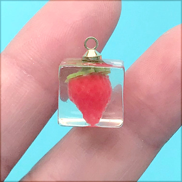 Miniature Strawberry in Ice Cube Charm | Fruit Cube Pendant | Kawaii Jewelry DIY (1 Piece / Red / 12mm x 16mm)