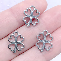 Small Four Leaf Clover Open Bezel | Floral Charm | Clover Deco Frame for UV Resin Filling | Resin Jewelry Supplies (3pcs / Silver / 11mm x 14mm)