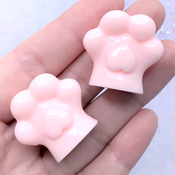 Dog Paw Cabochons in 3D | Cat Paw Embellishment | Animal Jewelry Making | Kawaii Decoden Piece (2 pcs / Pink / 28mm x 27mm)