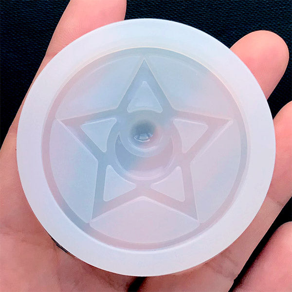 Crystal Star Silicone Mold | Magic Circle Mold | Magical Girl Jewelry Making | Kawaii Craft Supplies | Clear Mold for UV Resin (45mm)