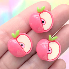 Small Apple Cabochons | Cute Fruit Embellishment | Kawaii Jewellery Making | Decoden Phone Case DIY (3 pcs / 18mm x 18mm)
