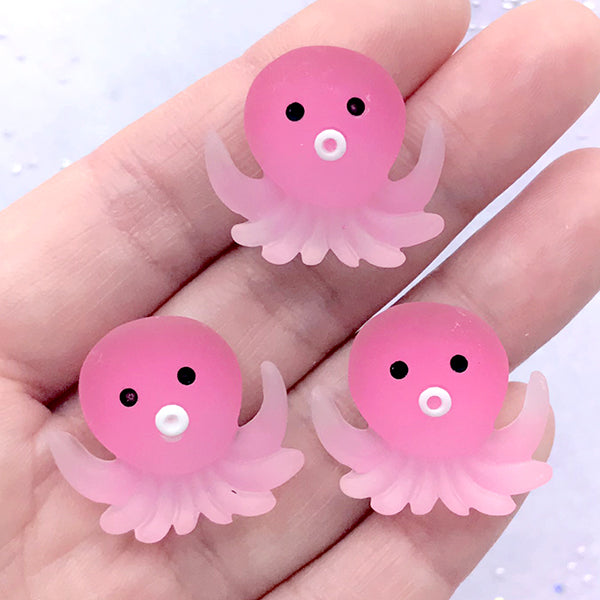Cartoon Octopus Cabochons | Kawaii Animal Decoden Cabochon | Cute Toddler Hair Bow Jewelry Supplies (3 pcs / 25mm x 23mm)