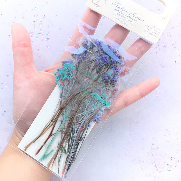 Baby's Breath Stickers | Realistic Pressed Flower Embellishment for Resin Art | Herbarium Supplies | Planner Decoration (20 pcs)