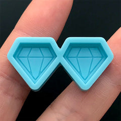Diamond Silicone Mold (2 Cavity) | Resin Jewellery Making | Stud Earrings Mould | Epoxy Resin Mold (15mm x 14mm)