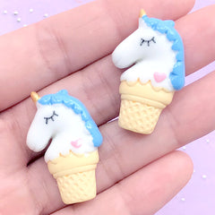 Kawaii Unicorn Ice Cream Resin Cabochons | Decoden Craft Supplies | Cute Embellishments for Slime DIY (2 pcs / Blue / 20mm x 31mm)