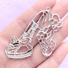 Floral High Heel Open Bezel Pendant for UV Resin Filling | Flower Shoe Charm | Kawaii Jewelry Supplies (1 piece / Silver / 57mm x 48mm)