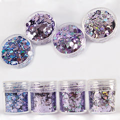 Iridescent Hexagon Glitter in AB Purple (4 pcs) | Chunky Confetti Sprinkles | Glittery Embellishments for Resin Art Decoration | Nail Design (1-3mm)