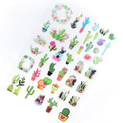 Cactus Clear Film Sheet for UV Resin Art Decoration | Desert Plant Embellishments | Resin Inclusions | Resin Fillers