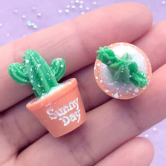 Dollhouse Cactus Pot Cabochons | Miniature Potted Plant | 3D Resin Embellishments | Doll House Decoration (2 pcs / 17mm x 27mm)