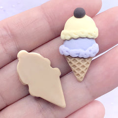 Kawaii Ice Cream Cabochons | Sweet Decoden | Fake Dessert Jewelry Making | Phone Case Decoration (2 pcs / Yellow Purple / 15mm x 29mm)