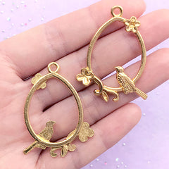 Bird with Teardrop Deco Frame for UV Resin Filling | Flower and Bird Open Bezel | Resin Jewellery Supplies (2 pcs / Gold / 31mm x 41mm)